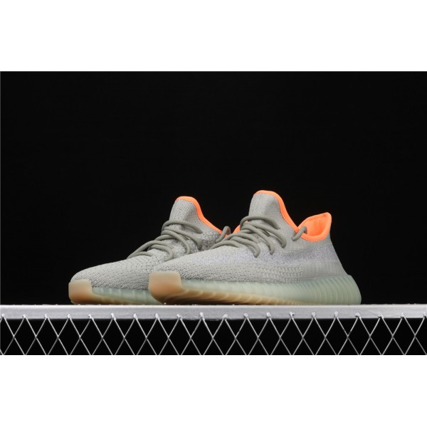 Men & Women Adidas Yeezy Real Boost 350 V2 Desert Sage In Grey Orange