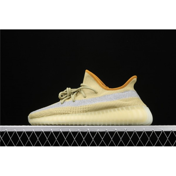 Men & Women Adidas Yeezy Real Boost 350 V2 Marsh In Yellow Grey