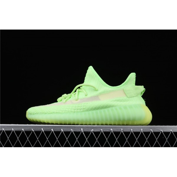 Men & Women Adidas Yeezy Real Boost 350 V2 In Fluorescent Green
