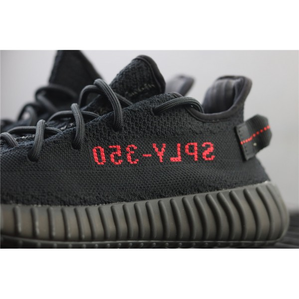 Men & Women Adidas Yeezy Real Boost 350 V2 Real Basf In Black Red Logo