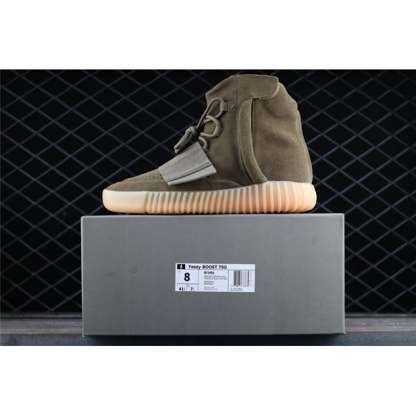 Men & Women Adidas Yeezy Real Boost Basf 750 Glow In Dark In Army Green
