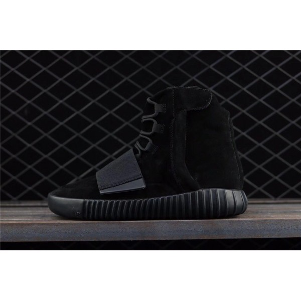 Men & Women Adidas Yeezy Real Boost Basf 750 Glow In Dark In Full Black