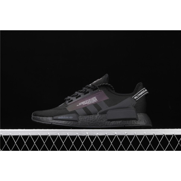 Men & Women Adidas NMD Boost R1 V2 FW1961 Black 3M