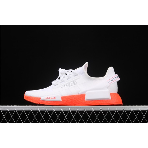 Men & Women Adidas NMD Boost R1 V2 In White Orange