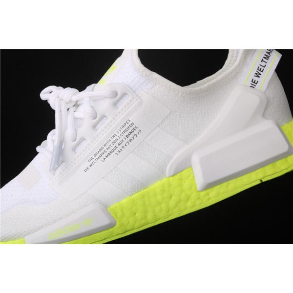 Men & Women Adidas NMD Boost R1 V2 In White Fluorescent