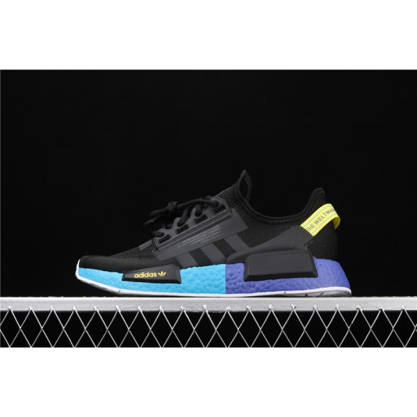 Men & Women Adidas NMD Boost R1 V2 In Black Blue