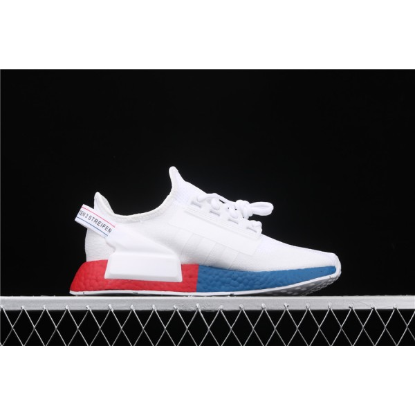 Men & Women Adidas NMD Boost R1 V2 In Cream Blue Red