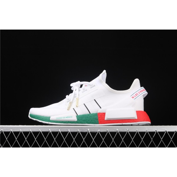 Men & Women Adidas NMD Boost R1 V2 In Cream Green Red