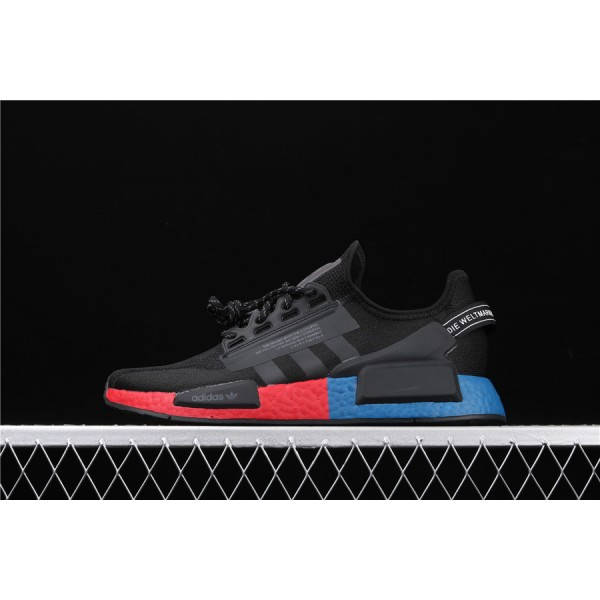 Men Adidas NMD Boost R1 V2 FV9023 Black Blue Red