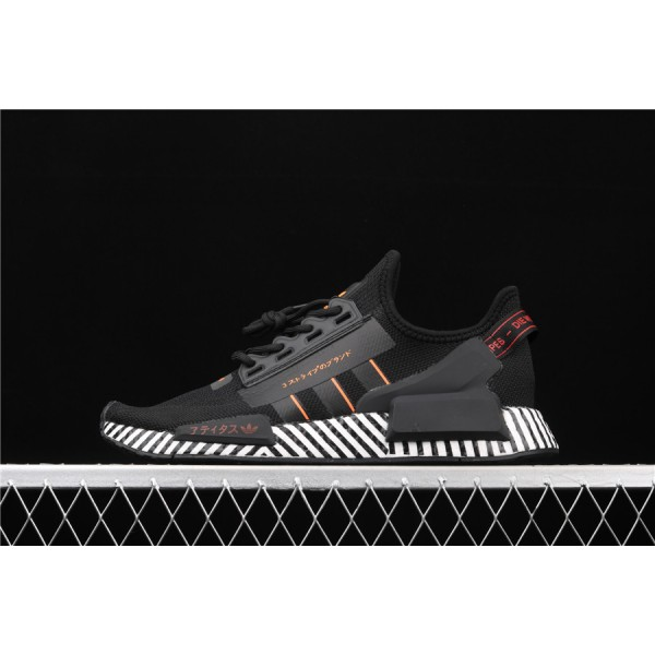 Men Adidas NMD Boost R1 V2 FW6411 Black Stripe