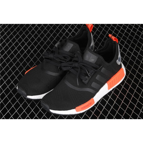 Men & Women Adidas NMD Boost R1 AQ0882 Black Orange