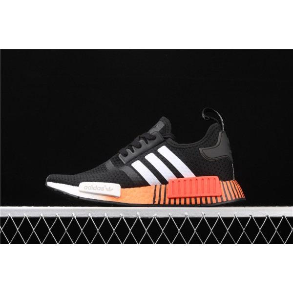 Men & Women Adidas NMD Boost R1 FV3658 Black Orange