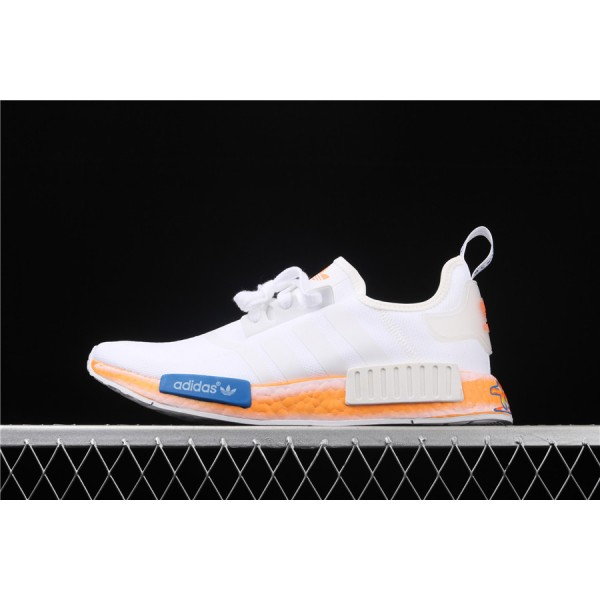 Men & Women Adidas NMD Boost R1 FV7852 White Orange
