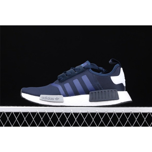 Men & Women Adidas NMD Boost R1 Logo S79161 Dark Blue