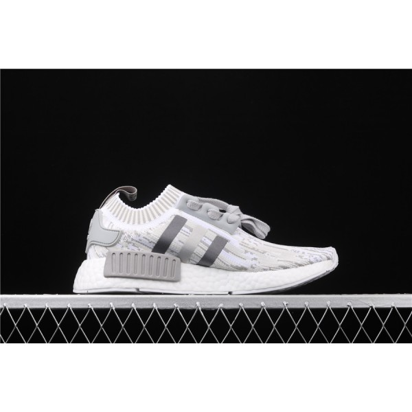 Men & Women Adidas NMD Boost R1 PK Real Boost BY9865 Gray White