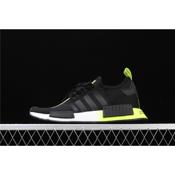 Men Adidas NMD Boost R1 FW2283 In Black Fluorescent