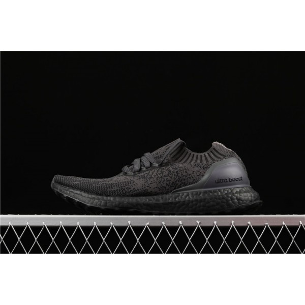 Men Adidas Ultra Real Boost Uncaged Triple Black In Dark Purple